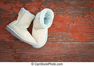 Warm winter sheepskin slippers - Pair of cozy warm winter...