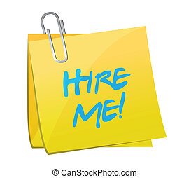 hire me post illustration design over a white background