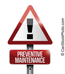 preventive maintenance sign illustration design over a white...
