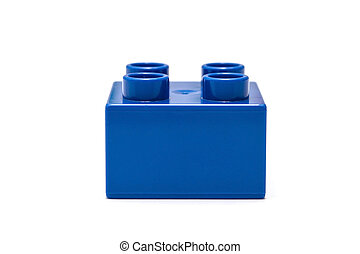 building block - Blue building block isolated on white
