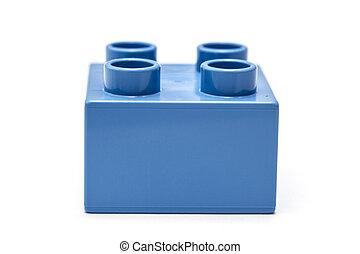 blue building block - Blue building block isolated on white