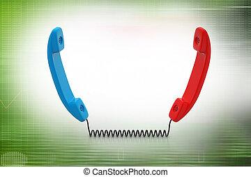 dos, teléfonos, receptores, conectado, cable