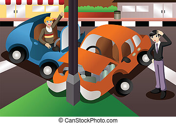 Car accident in the city