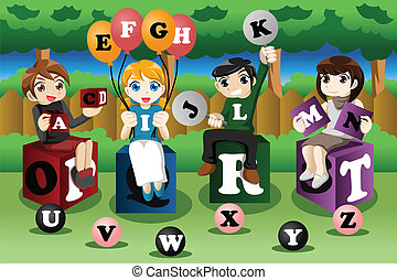 Kids learning alphabets - A vector illustration of kids...