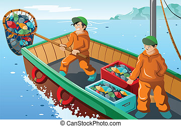Commercial fisherman fishing - A vector illustration of...