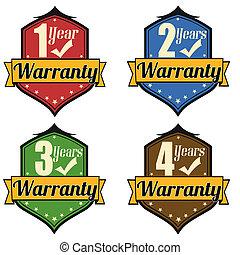 1-4 Years Warranty labels set