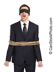 Blind-folded businessman tied with the rope screams -...