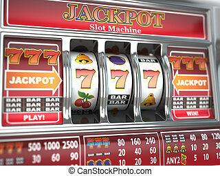 Jackpot on slot machine Three-dimensional image 3d