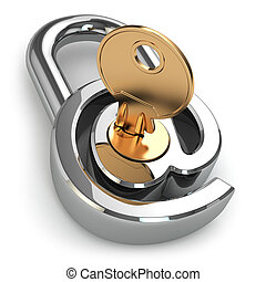 E-mail protection. At as lock and key. 3d