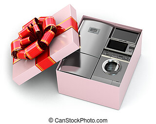 Home appliance in gift box with ribbons and bow - Home...