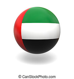 UAE flag - National flag of UAE on sphere isolated on white...