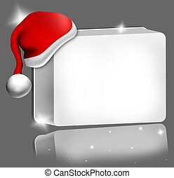 santa hat red 3d illustration with white blank board -...