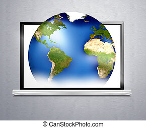 computer planet earth 3d illustration - computer and planet...
