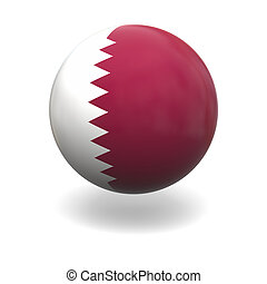 Qatar flag - National flag of Qatar on sphere isolated on...