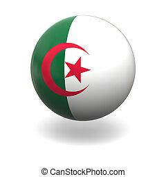 Algerian flag - National flag of Algeria on sphere isolated...