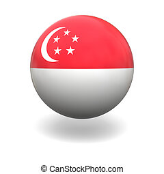 Singapore flag - National flag of Singapore on sphere...