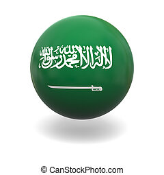 Saudi Arabia flag - National flag of Saudi Arabia on sphere...