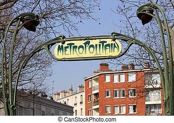 Ancient subway sign in Paris