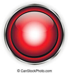 Red glass button on white