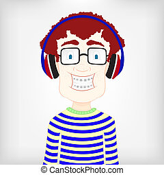 Boy with headphone - Nerdy kid with braces and sunglasses...
