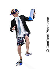 Business man in fins and goggles hands folder