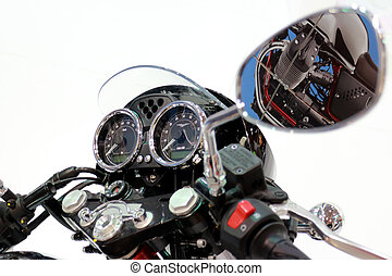 Motorcycle Handlebars and Gage Panel With White Background....