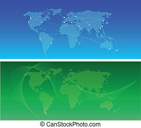 Global network - World communication map in green or blue...