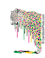 Leopard, abstract painting - Illustration of leopard in...