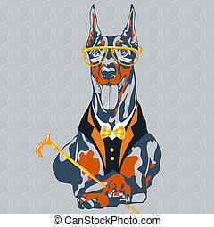 vector funny cartoon hipster dog Doberman Pinscher breed -...