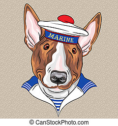 vector funny cartoon hipster dog Bullterrier sailor - sailor...