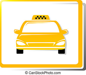 taxi car image on white background in frame