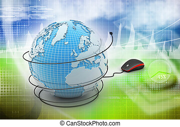 internet 3d concept - computer mouse with globe