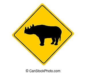 Black rhino warning sign
