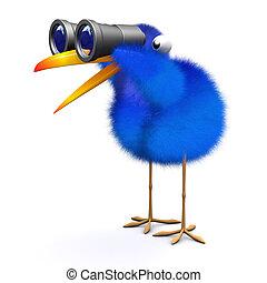 3d Blue bird binoculars - 3d render of blue bird looking...