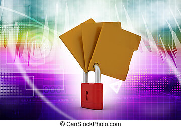 Confidential files Padlock on folder
