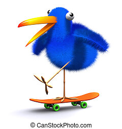 3d Blue bird skateboard - 3d render of a blue bird on a...