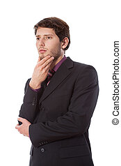 Thoughtful man on isolated view - Thoughtful standing man on...