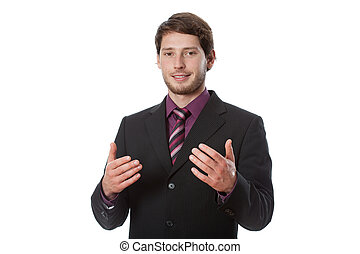 Young successful businessman during speaking something...