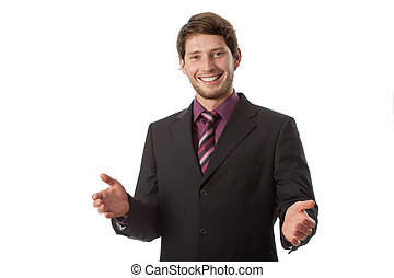 Smiling and open businessman wearing suit
