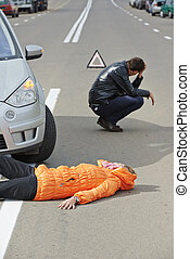 accident. knocked down pedestrian