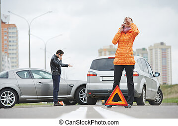 car crash collision - Car collision. driver man and woman...