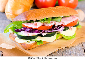 Sandwich - Tasty sandwich stuffed with ham,cheese and...