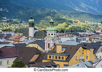 General view of Innsbruck in western Austria - General view...