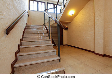 Modern stone stairs with wooden banister - Modern stone...
