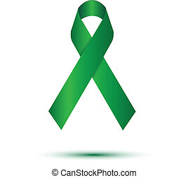 Green ribbon on white background