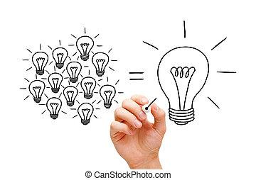 trabajo en equipo, luz, bombillas, concepto