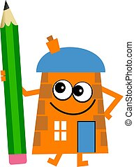 pencil house - Mr house holding a giant pencil isolated on...