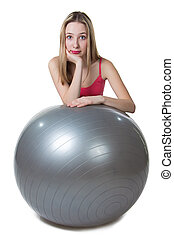 Girl with ball - isolated photo portrait with white...