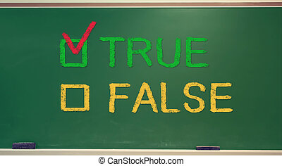 TRUE or FALSE checkbox on chalkboard - TRUE or FALSE check...