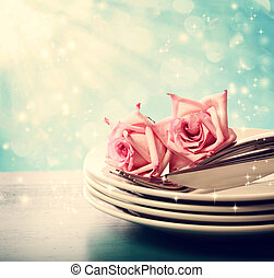 Dinner plates with pink roses - Dinner plate set with pink...